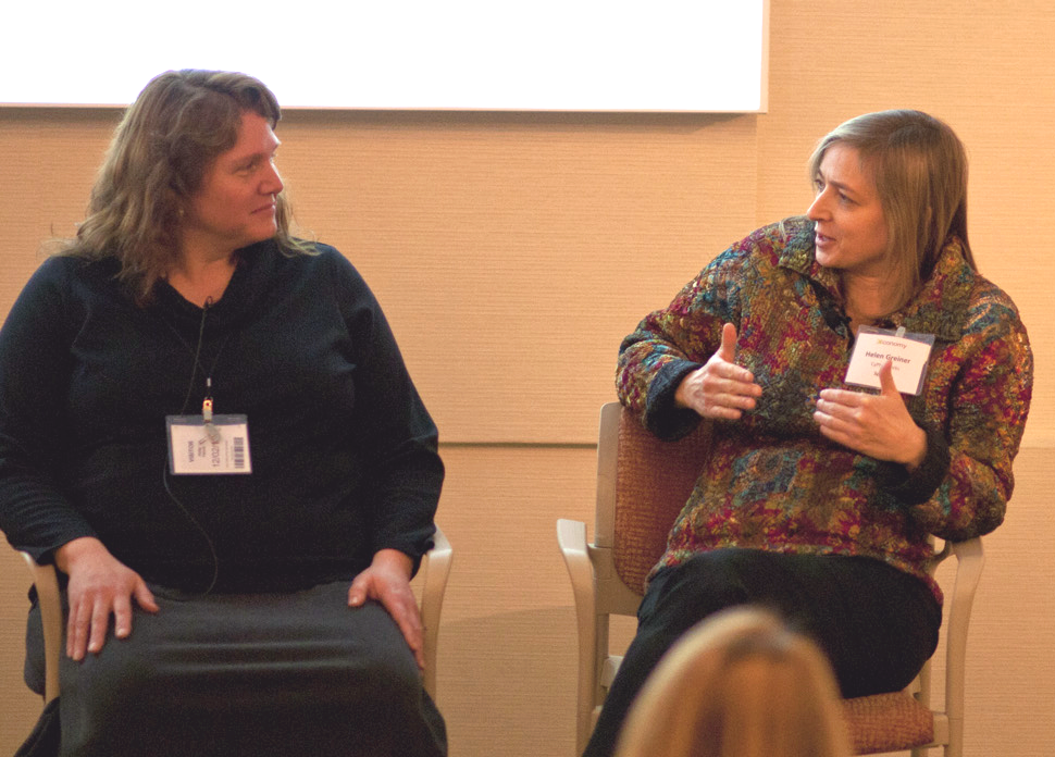 (L-R) Holly Yanco of UMass Lowell and Helen Greiner of CyPhy Works discuss robotics and drones at Xconomy's Tech Agenda 2015 conference. Copyright Keith Spiro Photo.