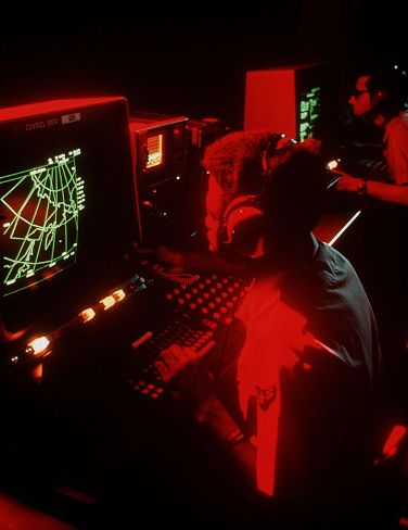 A phased-array radar system monitors Soviet ballistic missile testing in the 1970s.