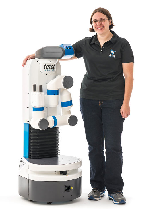 The Fetch robot model and Fetch Robotics CEO Melonee Wise