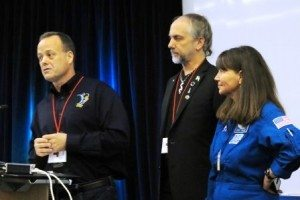 Ron Garan, Richard Garriott, and Cady Coleman at the Space Apps Challenge. (photo by Joao-Pierre S. Ruth)