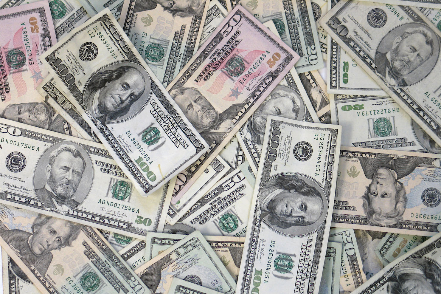 Pile of money stock image