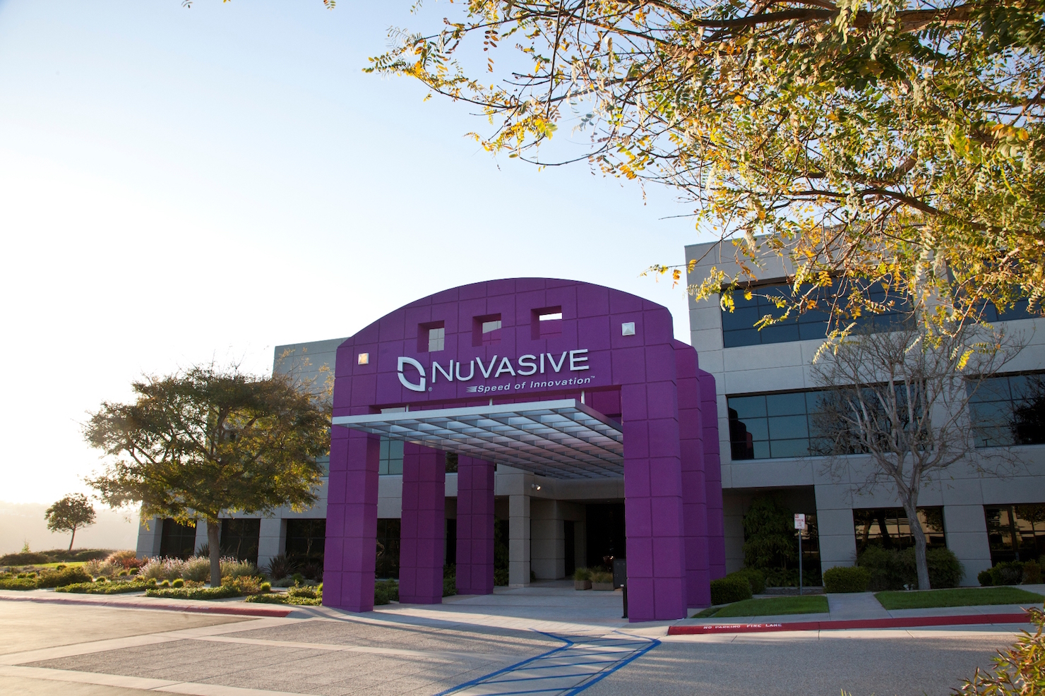 Views of the front of NuVasive, Inc. headquarters in San Diego, CA.