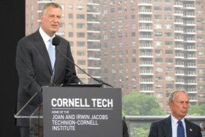Mayor Bill de Blasio and Michael Bloomberg said Cornell Tech will be significant to the city's future. (photo by João-Pierre S. Ruth)