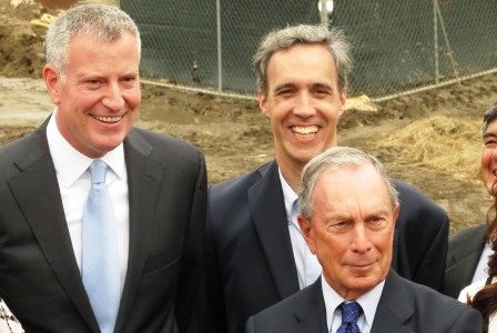 Mayor Bill de Blasio, Cornell Tech Dean Daniel Huttenlocher, and former Michael Bloomberg