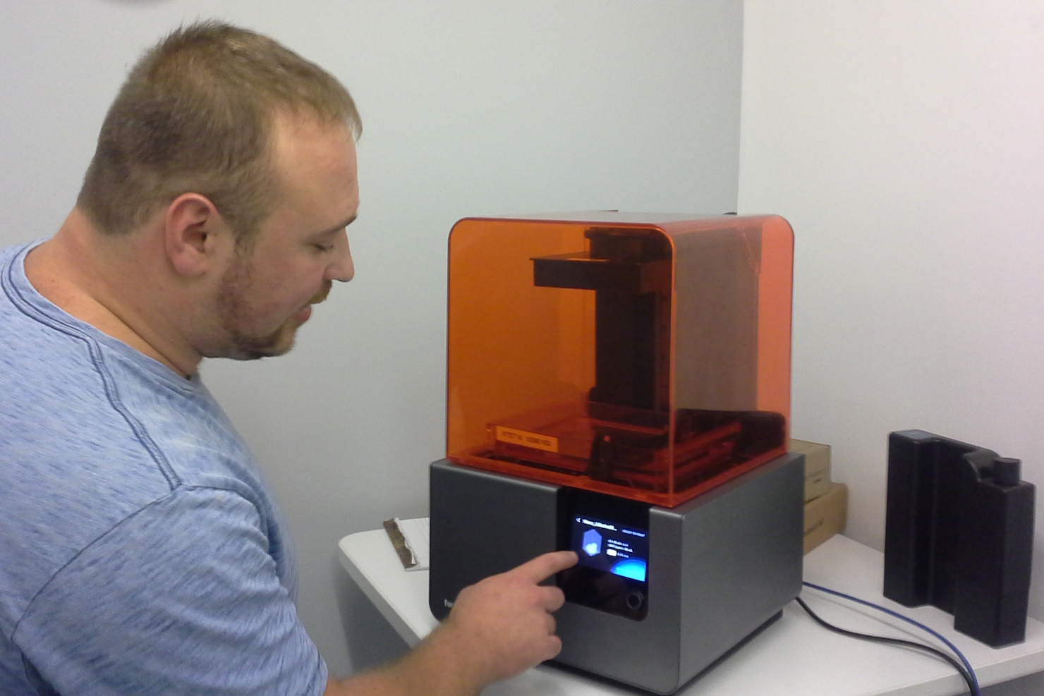 David Lakatos with Form 2 printer