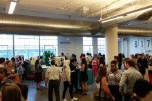 MassChallenge's Boston office was packed for an event highlighting the accelerator's gender diversity statistics. Photo by Jeff Engel.