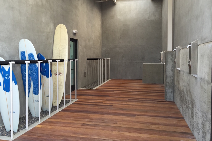 Carlsbad Tech Development (Xconomy photo by BVBigelow)offers Surfboard showers and storage lockers