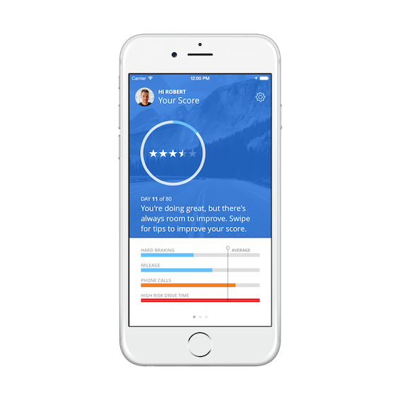 Snapshot driving-data app from Censio and Progressive Insurance (image: Censio).