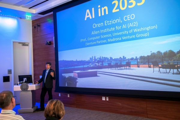 Oren Etzioni, CEO of the Allen Institute for Artificial Intelligence, speaks at Xconomy's Seattle 2035 conference.