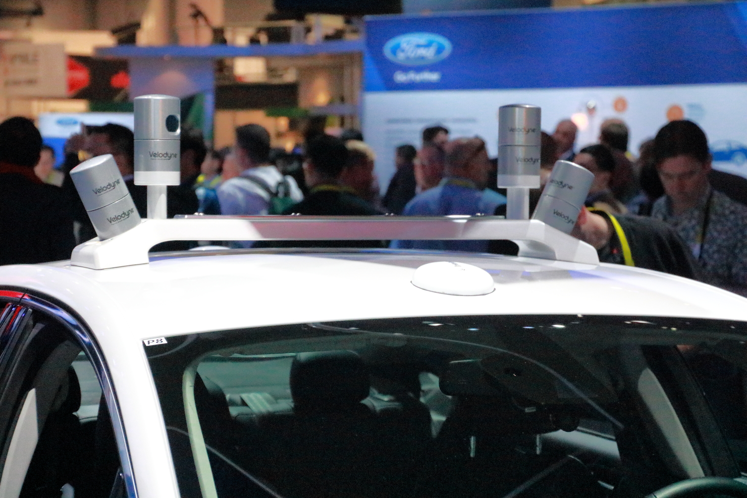 The Velodyne sensors are mounted on the roof the Ford Fusion Hybrid test vehicle.(photo by João-Pierre S. Ruth)