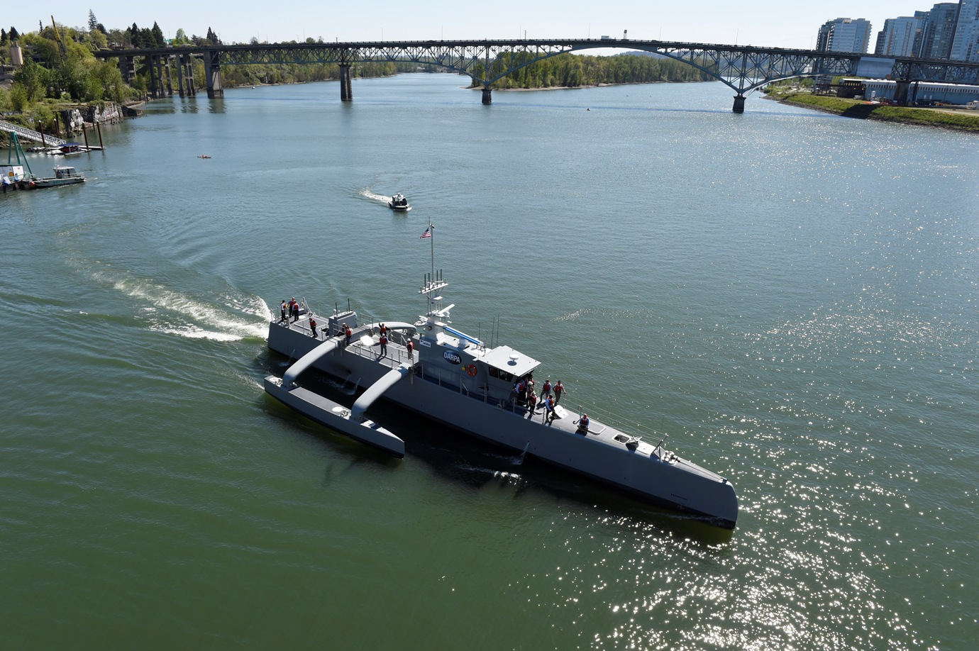 Sea Hunter underway on the Williammette River in Portland, on April 7, 2016. U.S. Navy photo by John F. Williams