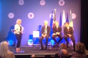 GE event in Boston - Jeff Immelt, Charlie Baker, Marty Walsh on stage