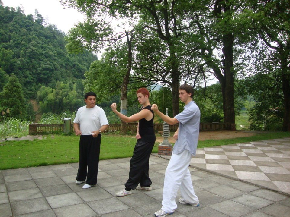 Victoroff (far right) trains at the Rising Dragon Martial Arts School in Yongping, China. Photo courtesy of Slater Victoroff.