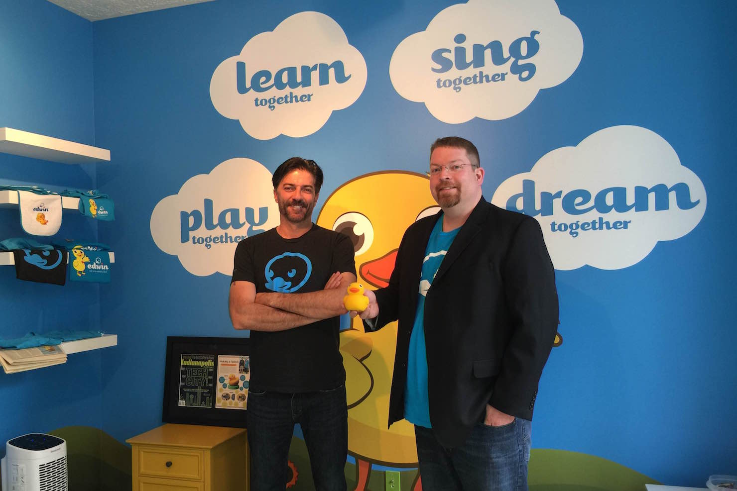 Edwin the Duck and Pi Lab founders Don Inmon (left) and Matt MacBeth