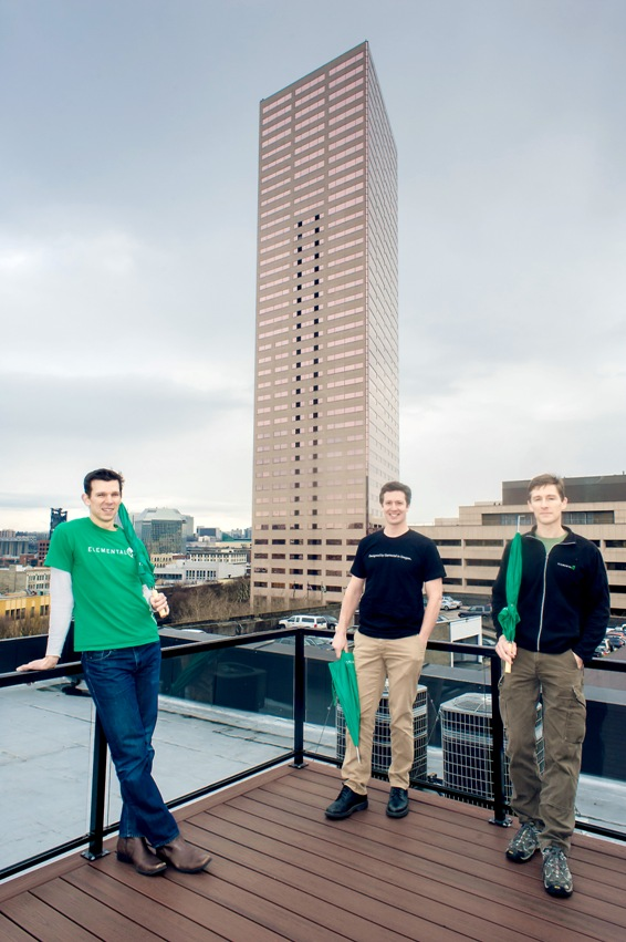 Elemental Technologies co-founders Sam Blackman (left), Jesse Rosenzweig (center), and Brian Lewis (right)