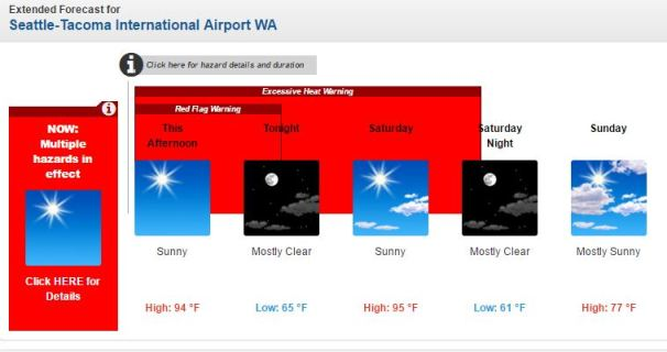 National Weather Service forecast for Seattle this weekend.