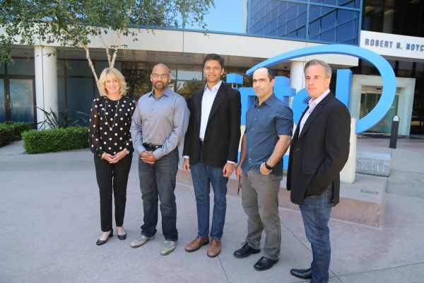 Intel's Diane Bryant with Nervana's co-founders Naveen Rao, Arjun Bansal, Amir Khosrowshaki and Intel vice president Jason Waxman