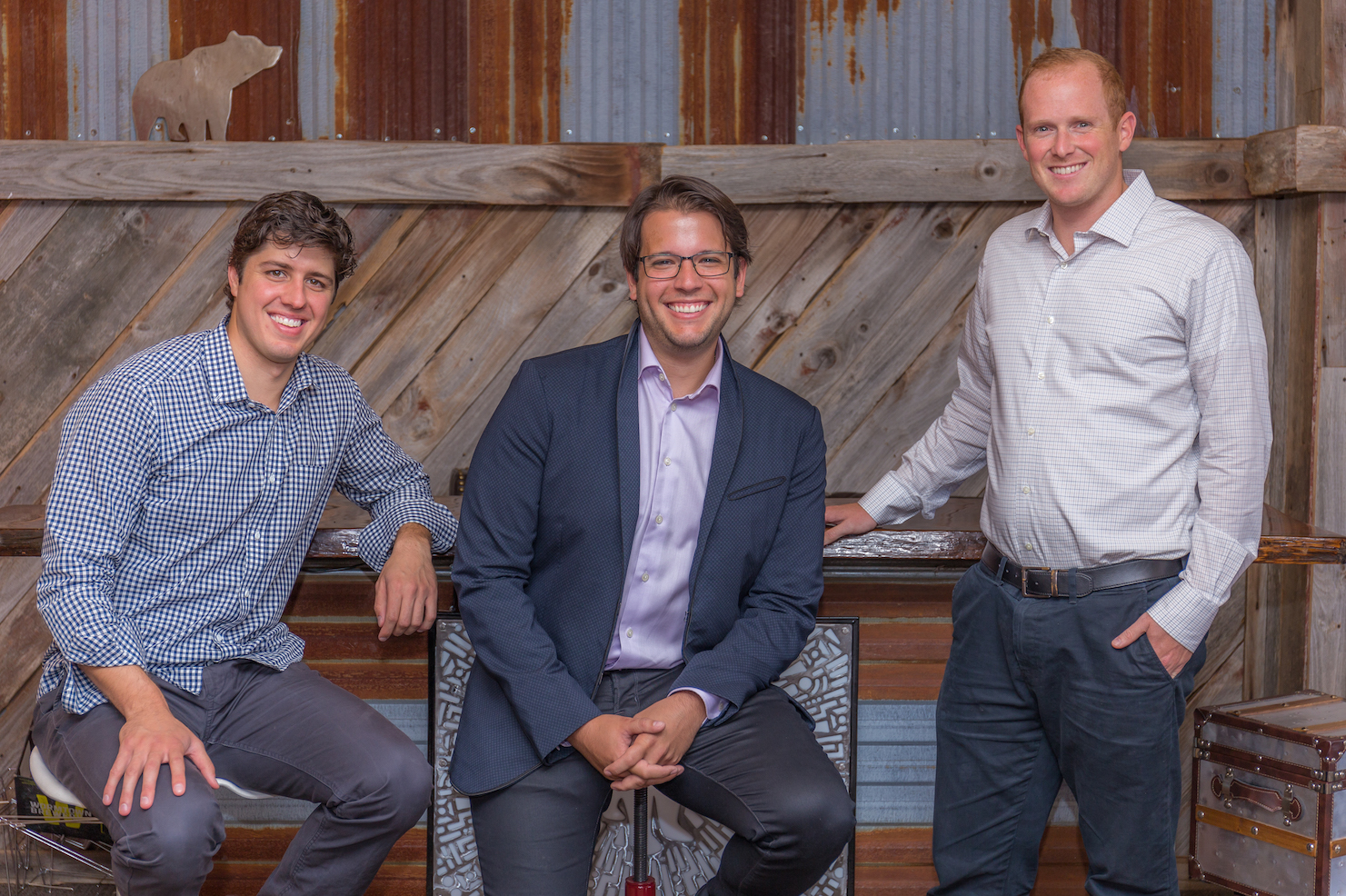 From left, Drizly chief operating officer Cory Rellas; co-founder and CEO Nick Rellas; and co-founder Justin Robinson.