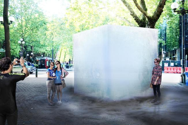 A rendering of Olson Kundig's 10-ton ICE CUBE. Courtesy of Olson Kundig.