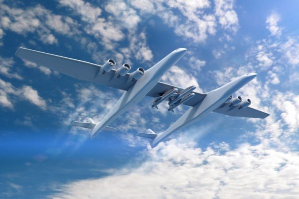 A rendering of the Stratolaunch airplane carrying Orbital ATK's Pegasus XL rockets. Photo via Stratolaunch Systems