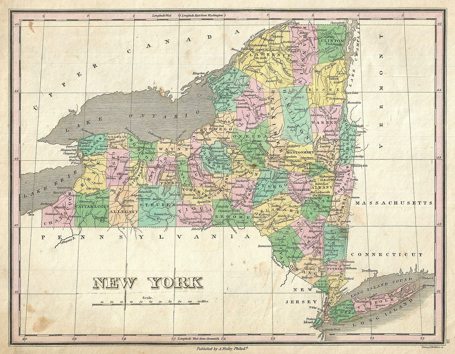 1827 Map of New York state