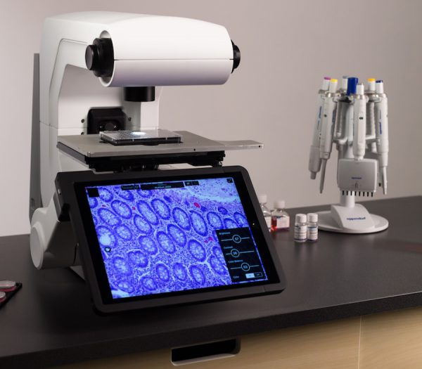 Revolve microscope in inverted position (for viewing specimens in petri dish) Image courtesy Echo