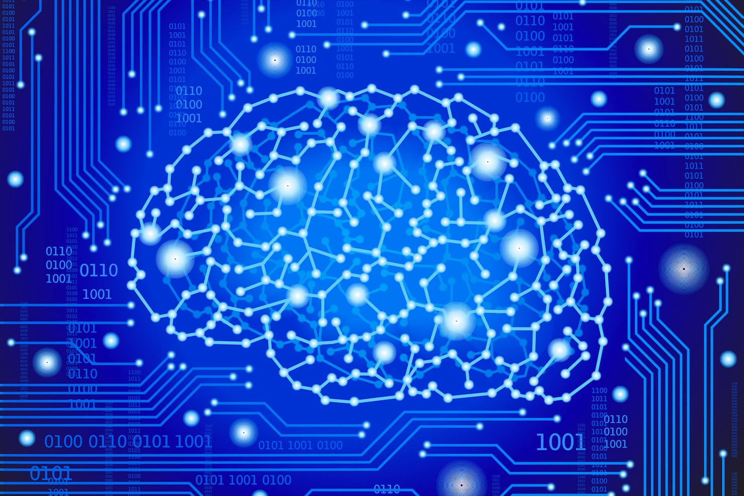 Digital brain AI stock image