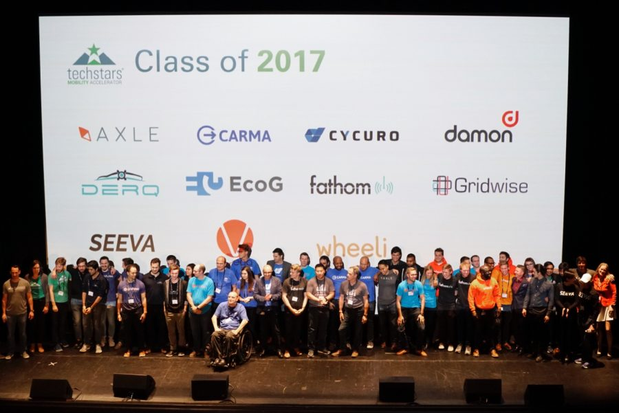 The 2017 Techstars Mobility cohort. Photo courtesy of Techstars Mobility.