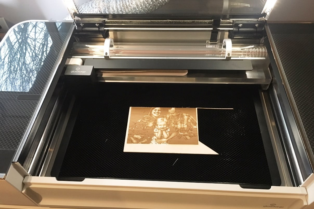 Glowforge laser cutter in action