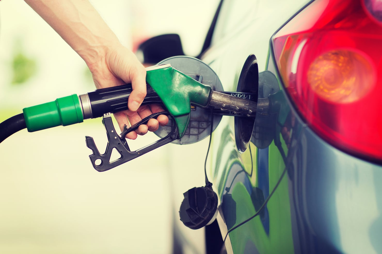Gas pump fuel stock image