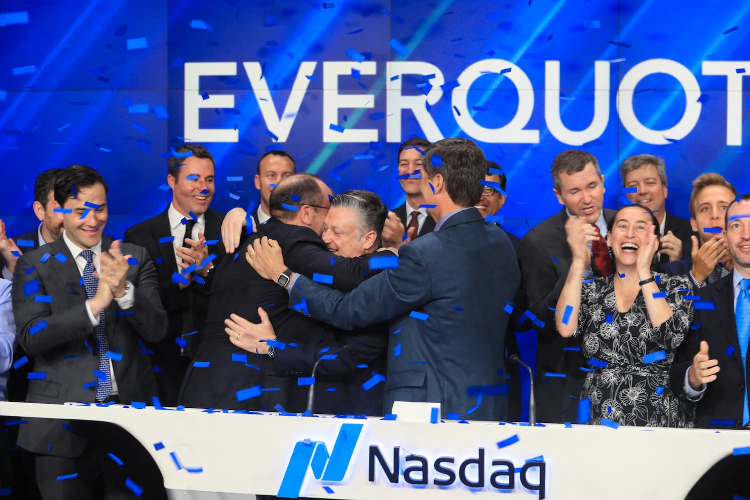 EverQuote founders hug on IPO day