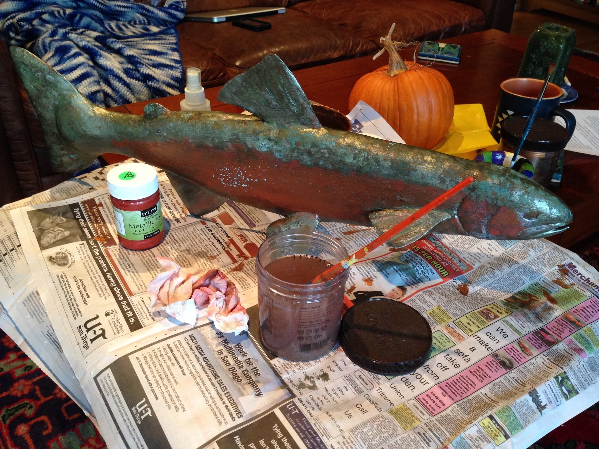 Fish (trout) in progress.
