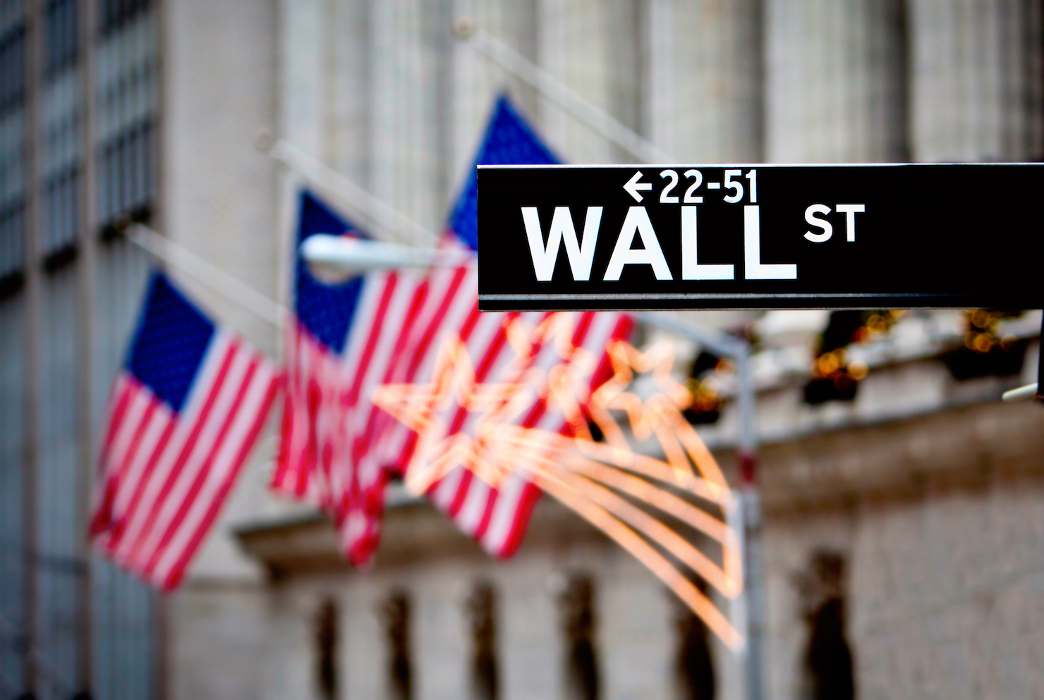 Sign of Wall Street with flags in the background