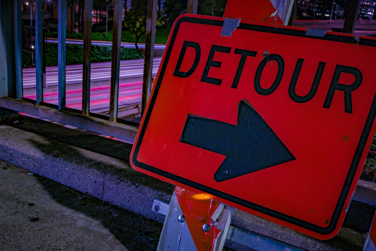 Downtown Los Angeles at Night Freeway Overpass Detour Sign Long Exposure
