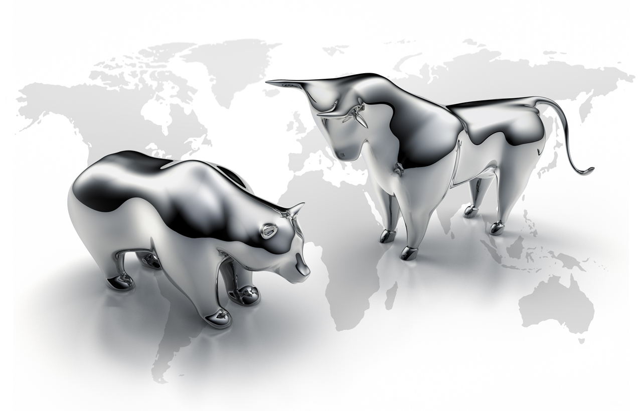 Silver Bull and Bear on Map of World