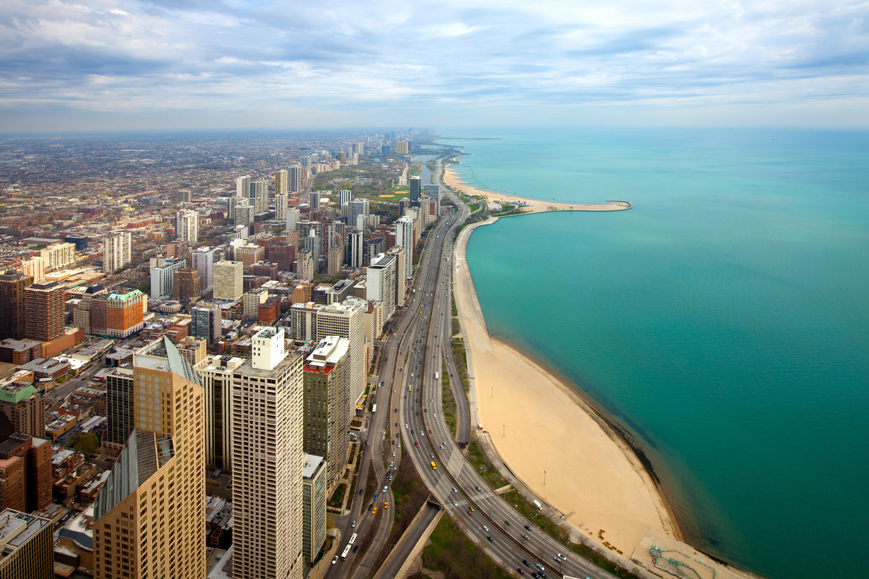 Aerial view of  North Chicago and Lake Michigan