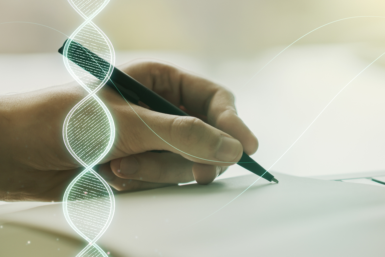 Creative light DNA illustration and man hand writing in diary on background, science and biology concept. Multiexposure